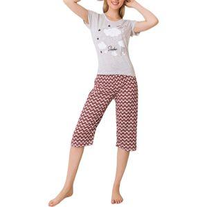 Dámske šedo-červené trojštvrťové pyžamo vel. M