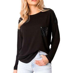 čierne dámske tričko s flitrované vreckom vel. XL