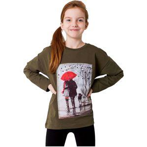 Khaki dievčenské tričko s potlačou vel. 128
