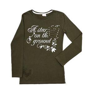 Khaki dievčenské tričko s nápisom vel. 116