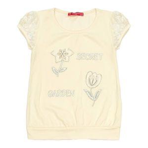 Béžové dievčenské tričko s kvetinami vel. 104