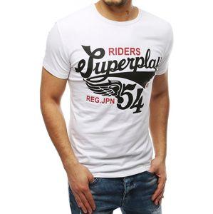 Biele pánske tričko s potlačou SuperPlay vel. 2XL